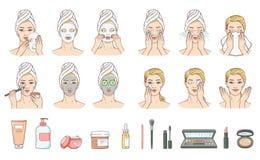 Mujer del vector que aplica la máscara facial, tratamiento de la cara ilustración del vector
