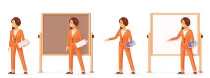 Mujer del vector que señala en el whiteboard de la carta de tirón stock de ilustración