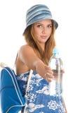 Mujer del verano con con agua Fotos de archivo libres de regalías