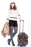 Mujer del viajero con un bolso Fotografía de archivo