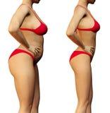 Mujer delgada antes y después fotos de archivo libres de regalías
