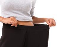 Mujer delgada con pérdida de peso acertada Fotografía de archivo libre de regalías