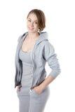 Mujer deportiva en suéter de la sudadera con capucha Imagen de archivo