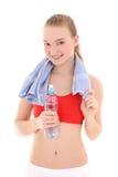Mujer deportiva hermosa con la botella de agua Fotografía de archivo
