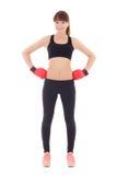 Mujer deportiva hermosa joven en los guantes de boxeo aislados en blanco Fotografía de archivo