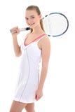 Mujer deportiva joven con la estafa de tenis Imagen de archivo