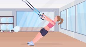 Mujer deportiva que hace ejercicios con el concepto elástico del entrenamiento del crossfit del entrenamiento de la muchacha de l ilustración del vector