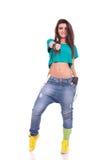 Mujer deportiva que muestra el pulgar para arriba Imagen de archivo libre de regalías