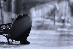 Mujer deprimida en el parque Imagenes de archivo