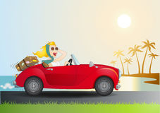 Mujer + descapotable. Women driving a red car with a tropical background stock illustration