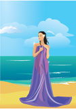 Mujer descubierta hermosa envuelta en una toalla libre illustration