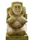 Mujer desnuda de piedra con los pechos grandes de la isla de Bali aislada encendido Imágenes de archivo libres de regalías