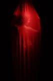 Mujer desnuda detrás del velo rojo foto de archivo
