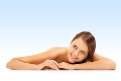 Mujer desnuda feliz Foto de archivo libre de regalías