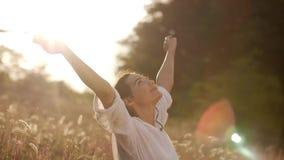 Mujer despreocupada hermosa en los campos que son felices al aire libre almacen de metraje de vídeo