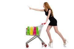 Mujer después de hacer compras ilustración del vector