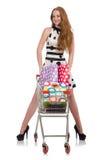 Mujer después de hacer compras Imagen de archivo libre de regalías