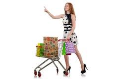 Mujer después de hacer compras libre illustration