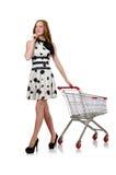 Mujer después de hacer compras Fotografía de archivo libre de regalías