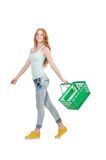 Mujer después de hacer compras en el supermercado imagen de archivo
