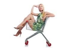 Mujer después de hacer compras en el supermercado aislado fotografía de archivo libre de regalías