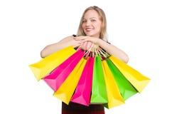 Mujer después del día de compras Imágenes de archivo libres de regalías