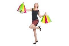 Mujer después del día de compras Imagen de archivo libre de regalías