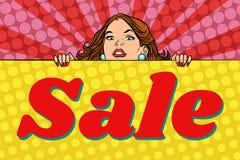 Mujer detrás del cartel de las ventas stock de ilustración