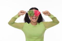 Mujer divertida con el caramelo Imágenes de archivo libres de regalías