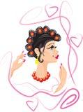 Mujer divertida con los rodillos del pelo Imagenes de archivo