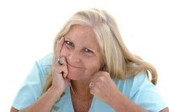 Mujer divertida de la lucha Foto de archivo