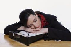 Mujer dormida en Inbox Foto de archivo