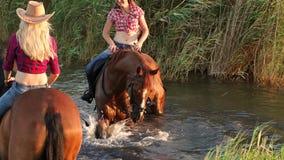 Mujer dos con sus caballos que nadan en el lago almacen de video