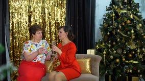 Mujer dos que habla en la fiesta de Navidad almacen de metraje de vídeo