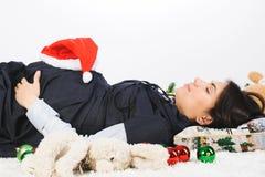 Mujer durmiente embarazada Imagen de archivo libre de regalías