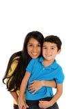 Mujer e hijo en el fondo blanco Imagen de archivo