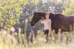 Mujer ecuestre joven hermosa con el caballo en naturaleza del sol del verano Imagen de archivo