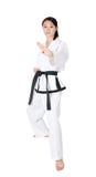 Mujer el Taekwondo Foto de archivo libre de regalías