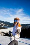 Mujer el vacaciones del esquí Imágenes de archivo libres de regalías