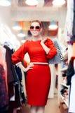 Mujer elegante con las gafas de sol y los panieres grandes fotografía de archivo
