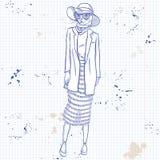 Mujer elegante del vector con la cabeza de los gatos Imagenes de archivo