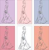 Mujer elegante en ballgown con el embrague stock de ilustración