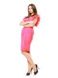 Mujer elegante hermosa en la presentación rosada del vestido de noche Fotos de archivo