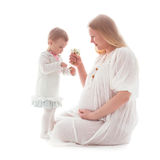 Mujer embarazada aislada Fotografía de archivo