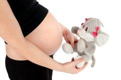 Mujer embarazada con el juguete de la felpa Fotografía de archivo