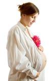 Mujer embarazada con la flor Imagen de archivo libre de regalías