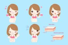 Mujer embarazada con las marcas de estiramiento ilustración del vector