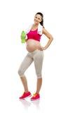 Mujer embarazada de la aptitud aislada en blanco Fotos de archivo libres de regalías