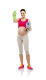 Mujer embarazada de la aptitud aislada en blanco Imagen de archivo libre de regalías