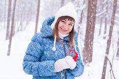 Mujer embarazada de la muchacha en bosque del invierno Imágenes de archivo libres de regalías